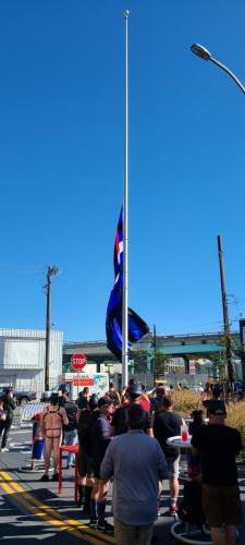 Raising the Leather Pride Flag