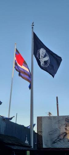 The Eagle Plaza flags